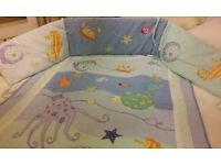 Cot bumper and matching cot throw