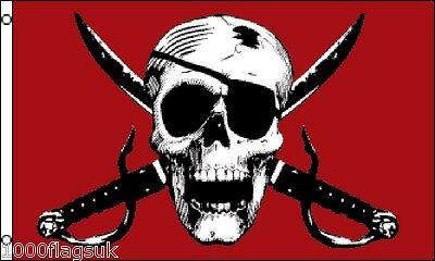Piraten Piratenflagge Schädel und Gekreuzte Schwerter Crimson 5'X 3' Flagge