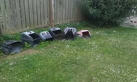 Six mower grass boxes