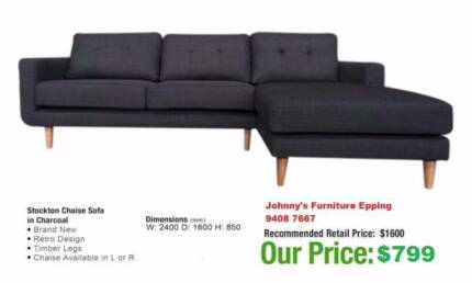 """Brand New """"Stockton"""" Charcoal Fabric 3 Seater with Chaise"""