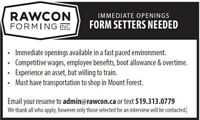 Form Setters needed in Mount Forest