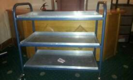 Steel Trolley Table with removable aluminium shelves