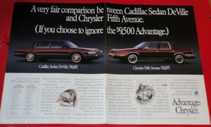 1991 CHRYSLER FIFTH AVENUE  COMPARED TO CADILLAC SEDAN DEVILLE