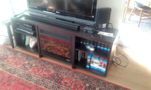 TV Bench with Fireplace