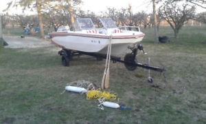 ** 16ft fishing boat bow rider + trailer + 90HP Evinrude **