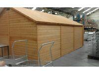 Wooden car garage workshop
