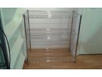 CHROME WIRE SHELVING UNIT - 3 shelves, H900 x W900 x D450 mm