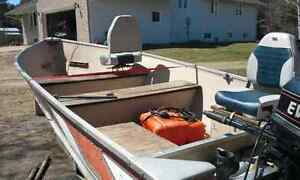 25 hp evinrude 14' misty river boat motor and trailer