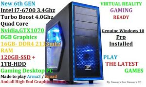 Intel i7-6700 3.4 -4.0Ghz turbo boost, GTX1070 8GB-16GB Gaming PC Fairview Park Tea Tree Gully Area Preview