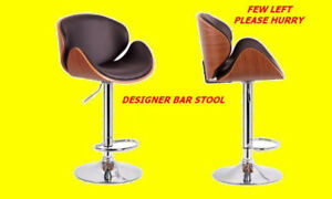 BRAND NEW DESIGNER BAR STOOL WITH BENTWOOD IN WALNUT FINISH ..