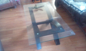 glass coffee table and a side glass table in good condition