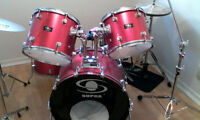 Upgraded Supra Drum Kit, Cymbals, Pedals & Skins