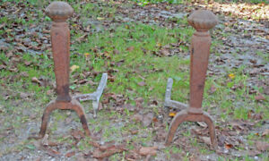 Fireplace Andirons, Antique, Cast Iron and hand forged.