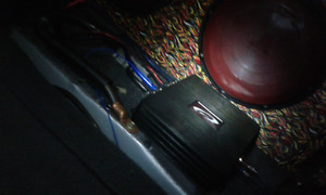 Two  jl ten inch subs in a hefty box and amp 500 watt