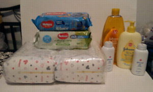 40 Huggies diapers and Johnsons shampoo,wipes,powder,lotion