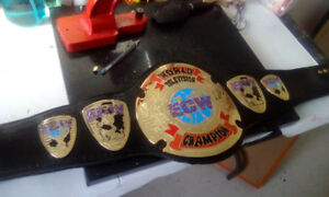 ECW television Championship replica belt on  REAL LEATHER