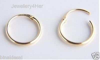 9ct GOLD Tiny Small Plain 10mm Top Half Hinged Hoop Sleeper Earrings Pair GIFT N