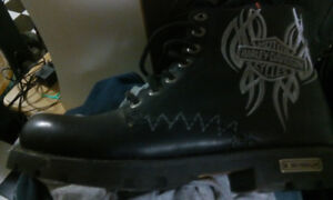 HARLEY DAVIDSON BOOTS BLACK SIZE 8 MINT CLEAN CONDITION