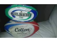 2 signed rugby ball's