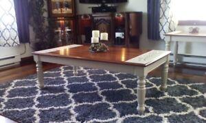 Ensemble rustique de deux tables de salon basse d appoint