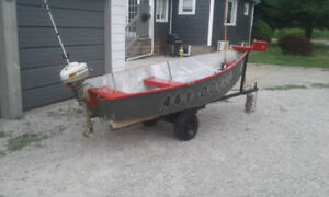 ** 10 ft aluminum fishing boat + trailer + motor $1000
