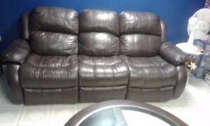 real leather both sides recline 3 seat couch