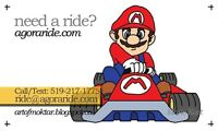 Need a ride in Guelph, K-W, Cambridge?