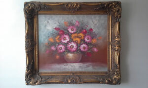 Big signed floral painting on canvas