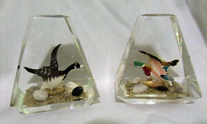 Vintage Pair of Goose & Duck Lucite Acrylic Paperweights