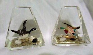 Vintage Pair of Goose & Duck Lucite Acrylic Paperweights Kitchener / Waterloo Kitchener Area image 1
