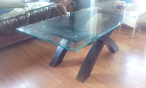 glass coffee table and a side glass table