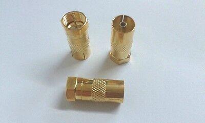 2 X F Stecker auf Pal Buchse Stecker Gerade RF Koaxial F-Typ Adapter Gold ()