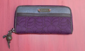 Purple FOSSIL Quilted Fabric & Leather Clutch Wallet