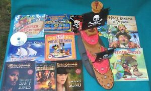 Pirate books& Hats &boat & Stuffie for the Primary/Jr Reader