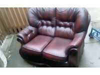 vintage ox blood 2 seater leather sofa £65