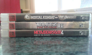 Lot de jeux PS3 ; MK vs DC universe, MGS4, Blitz 2