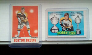 Orr,hull and howe hockey cards.