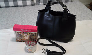 BRAND NEW Black Faux Leather Handbag PLUS