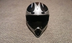 Black and silver Fuel MX helmet