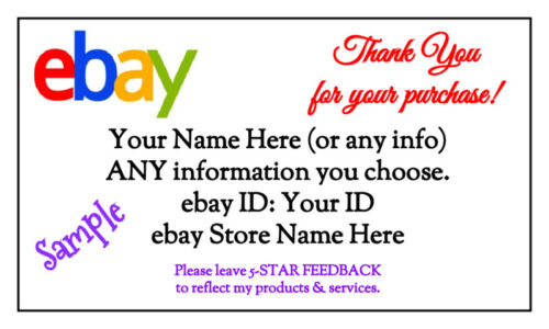 100 GLOSSY White Custom Business Cards (3.5 x 2-inches) Ebay Thank You Cards