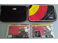 2 TABLE TENNIS BAT COVERS SINGLE & DOUBLE WITH 2 MINI BATS