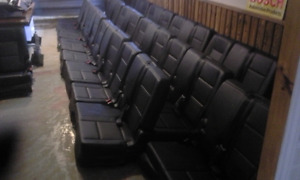 """""""MAN CAVE """" IDEA USE THESE NEW BLACK LEATHER SEATS FROM SUV."""