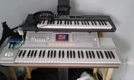Korg M3 expanded, Roland D550, Alesis io dock2