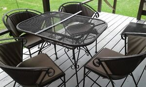 Wrought iron patio table  4 chairs