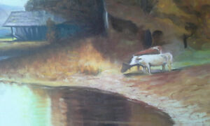 Cows and pond big oil painting signed by artist