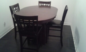 Solid wood dining set, pub style - table + 4 chairs