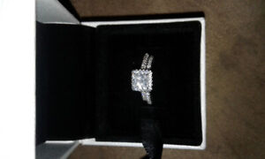 Exclusive 925 Sterling Silver Double Ring Engagement/Promise Set