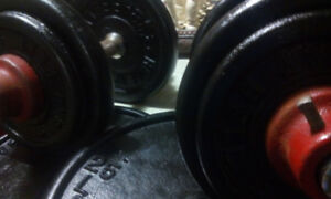 125 TOTAL LBS  YORK AND MCCOY CAST IRON WEIGHTLIFTING PLATES
