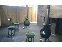 2 x Cast Iron Log Burners with insulated flues