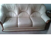 Three seater leather sofa and two chairs (one recliner)